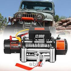 12000LBS Electric Winch Waterproof Truck Trailer 85FT Steel Rope Off-Road 4WD