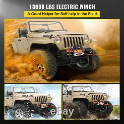13000Ibs Electric Winch 12V 85ft Synthetic Rope 4WD ATV UTV Winch Towing Truck