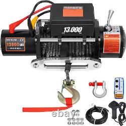 13000LBS Electric Winch12V Synthetic Rope Off-road ATV UTV Truck Towing Trailer
