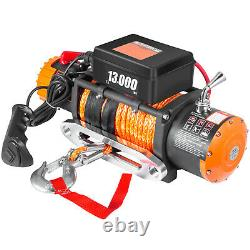 13000lbs Electric Recovery Winch Truck SUV Durable Remote Control 4WD Synthetic