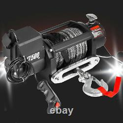 17500Ibs Electric Winch 12V 85ft Synthetic Rope 4WD ATV UTV Winch Towing Truck