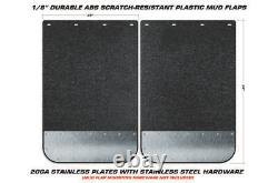 2pc Universal Mud Flaps with Stainless Steel Plates Semi Trailer Truck 24 x 36