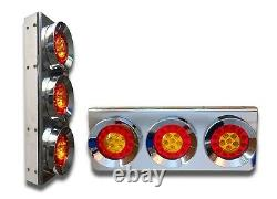2x CHROME LED REAR STAINLESS STEEL LIGHTS TAIL LAMPS TRUCK TRAILER LORRY BUS 24V