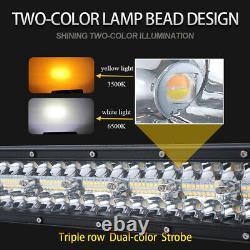 32 1850w Amber White Strobe Led Light Bar Combo Beam Offroad Driving 4wd Truck