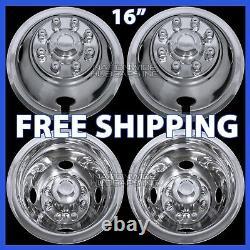 4 for DODGE 16 Dual Steel Wheel Simulators Dually 8 Lug Rim Skins Liners Covers