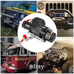 9500lbs Electric Winch 12V 85ft Synthetic Rope 4WD ATV UTV Winch Towing Truck