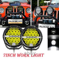 AUXBEAM Pair 7 Spot Round LED Work Light Offroad Fog Driving DRL Lamp SUV Truck