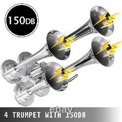 Air Horn Truck Train Horns Kit 12 Volt with 5.4L Air Compressor 4 Trumpet 150db