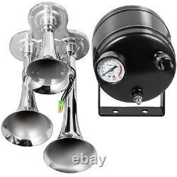 Air Horn Truck Train Horns Kit 150 PSI with 2L Air Compressor 3 Trumpets 135db
