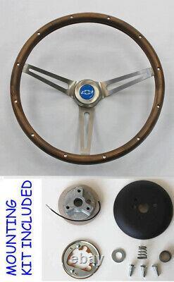 Blazer C10 C20 C30 Truck Grant Wood Steering Wheel 15 Blue Bowtie Center Cap