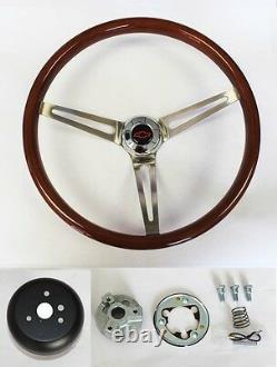 Blazer C10 C20 C30 Truck High Gloss Wood Steering Wheel SS Spokes Red/Black 15