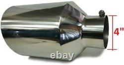 Bolt on Diesel Truck Exhaust Tip 4 Inlet 8 Outlet 18 Long Polish