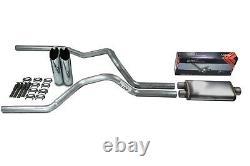 Chevy GMC 1500 Truck 07-14 2.5 Dual Exhaust Flow II Stainless Muffler Slash Tip