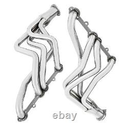 FITS Chevy Truck Header Set Sliver Stainless Steel For GMC Chevy Small Block