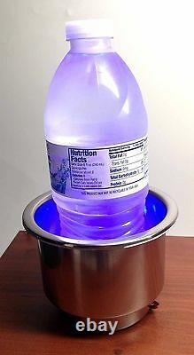#Pactrade Marine Boat RV Truck S. S. LED Blue Cup Drink Holder 1/4 Drain Tube