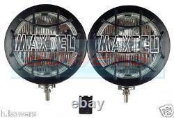 Pair Of Maxtel 12v/24v 8 1/4 Stainless Steel Round Spotlights Spotlamps Truck
