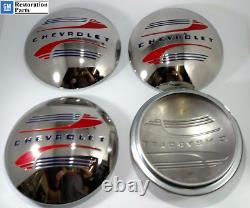 Set (4) Stainless Steel Hubcaps For 1941-48 Chevrolet Car / Pickup Truck