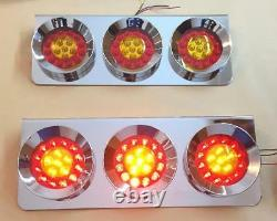 Set Of 2 24v Chrome Led Rear Tail Stainless Steel Lights For Truck Lorry Trailer