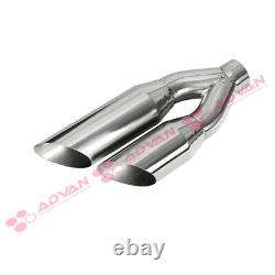 Single Wall Dual Exit Truck SUV 17in Weld On Exhaust Tip 2.5 In 3.5 Out 233139