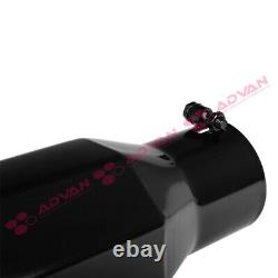 Truck Angled Octagon Black 15 inch Bolt-On Exhaust Tip 4 In 6 Out Universal