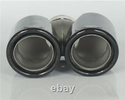 Universal 2.5-3.5'' Real Carbon Fiber Car Dual Exhaust Pipe Tail Muffler End Tip